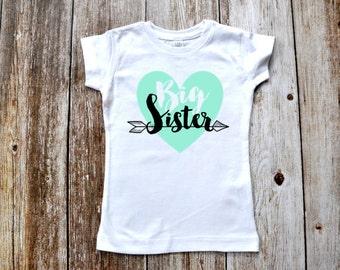 Mint/Teal Big Sister Arrow T-shirt or Bodysuit Photo Prop