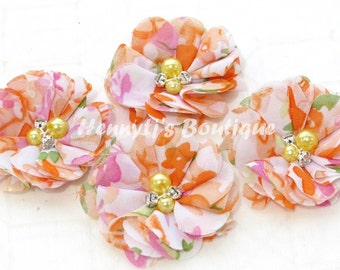 4 pcs Aubrey Orange Pink Green FLORAL Spring Patterned. Soft Chiffon pearls rhinestones Puffy Small Fabric Flowers, DIY Hair accessories