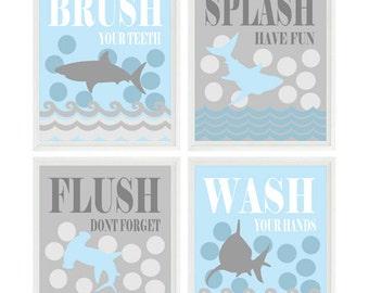 Shark Bathroom Wall Art, Kids Bathroom, Wash, Flush, Brush, Splash, Light Blue, Gray, Shark Bathroom Theme, Shark Art, Boy Bathroom