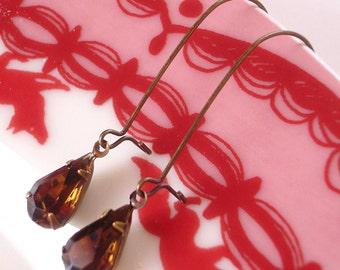 Smoke Topaz Brown Les Petites Poires Vintage Rhinestone Earrings