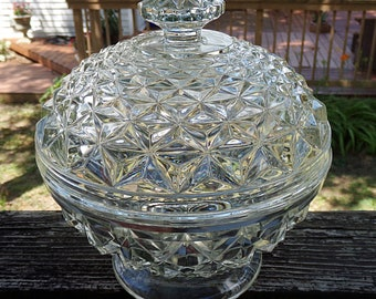 Covered Footed Candy Dish, Cubist Style Design, Heavy Clear Glass, 6 3/4 Inches Tall, 7 Inch diameter,