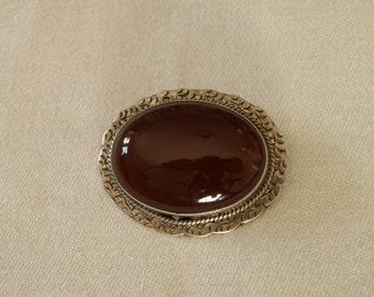 Vintage Sterling Silver Carnelian Oval Pin