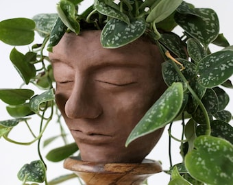 Large Clay Head Plant Pot - Serene Handmade Face Planter in Various Sizes