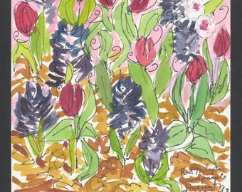 Red Tulips and Purple Hyancinths