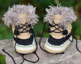 Ready to Ship!  0-3 Month Crochet Baby Boots, Tan Boots, Baby Boots, Summit Snowboots, Booties, Baby Gift