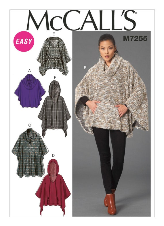 Sewing Pattern for Misses\' Cowl-Neck or Hooded Ponchos and