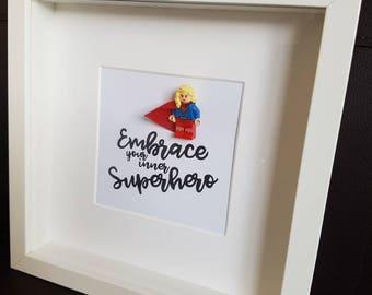 Superhero//Shadow Box Frame//Supergirl//Minifigures//Gift//Mum/Mom/Mothers Day/For Her//My Hero//DC//Personalise//Geek//Kids Room//Nursery