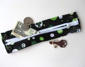 Secret Stash Money Cuff -  The Luck of the Irish- hide your cash, key, jewels, health info , in a hidden inside zipper...