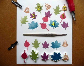 Leaf Rubber Stamps, Hand Carved, Woodland Designs, Leaves stamp