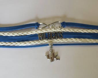 University of Kentucky Wildcats Bracelet, Kentucky Bracelet, Infinity bracelet, Boho Wrap bracelet, Alabama Wrap Bracelet, with a Charm