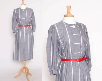 CLOSING SALE Vintage 80s Grey Stripe Dress / Housewife Dress /  S M
