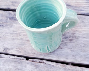 Pottery Coffee Mug in  Caribean green, turquoise, azure, holds 8 ounces, gift for her