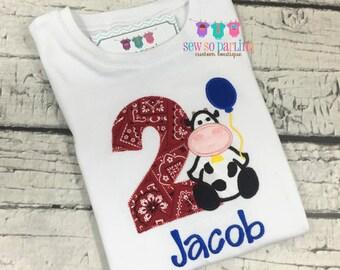 2nd Birthday Farm shirt - Baby Boy Birthday Cow Outfit - 1st Birthday Farm Birthday Outfit - 1st Birthday Outfit