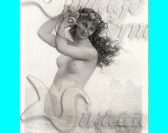s147 Beach Mermaid Fat Quarter Vintage MERMAID PAINTING Quilting Applique.