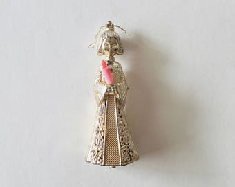 Vintage 1960's Gold Plastic Angel Ornament with Candle