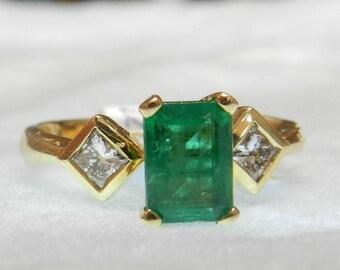 Emerald Engagement Ring 14k Diamond Emerald Ring Vintage Engagement Ring Art Deco Diamond Emerald Ring May Birthstone