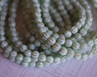 4mm Melon Round Beads -  Mint with Gold Wash - Czech Glass Beads - 4mm Fluted Round Beads - Bead Soup Beads