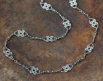 Handcrafted Silver Chain Necklace, Double Celtic Heart Necklace with Wire Wrapped Links, Spiral Ornaments, 925 Sterling Silver