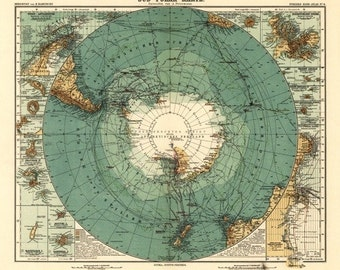 Panoramic Map of Antarctica - 1912 (Art Prints available in multiple sizes)