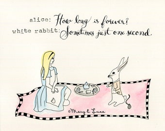 alice and the white rabbit- 8x10 Digital Print