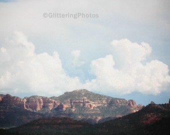 Arizona, Mountains, Red Rock State Park, Sedona, Fine Art Photograph, Clouds, Sky, Nature Photography, 8 x 10, OOAK, Glitter, Landscape
