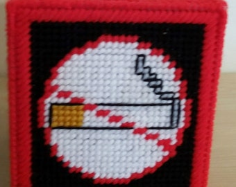 NO SMOKING - Boutique Size Tissue Box Cover - Needlepoint on Plastic Canvas - Handmade