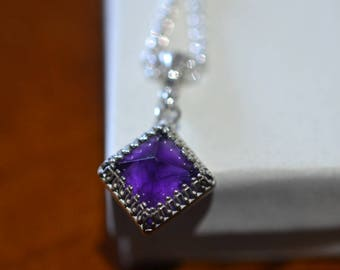 Amethyst Pendant, Crystal Point Necklace, Pyramid Cut Stone, Silver Chain, Boho Women's Jewelry