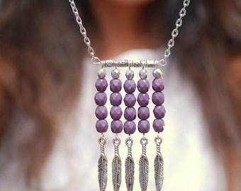 Boho tribal necklace, Purple beads necklace, Tribal Hippie arrow necklace, Festival necklace, boho necklace
