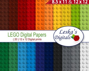"Digital Scrapbook Paper: ""LEGO DIGITAL PAPER"" Lego backgrounds, Lego party invites, Lego Scrapbooking Paper, Lego printable pattern"