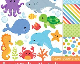 Sea animals clipart - Sea animals NEUTRALS - Clip art and digital paper set