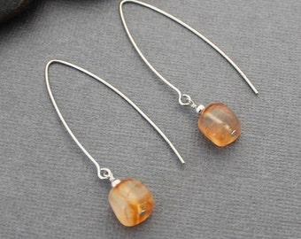 Carnelian Earrings - Long Earrings - Sterling Silver Earrings - Gemstone Earrings - Orange Earrings - Natural Stone Earrings - Drop Earrings