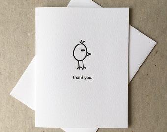 Letterpress grateful bird card (#BRD003)