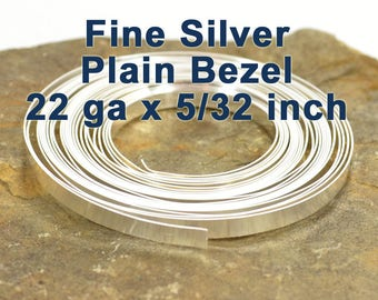 "22ga x 5/32"" Plain Bezel Strip - Fine Silver - Choose Your Length"