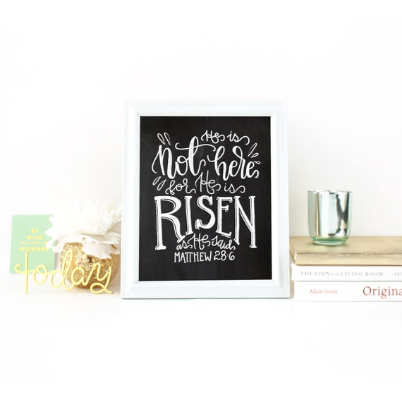 He Is Risen - Easter Print - Chalkboard Digital Print