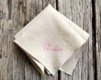 Personalized Hankerchief with Name, Hand Embroidered Name Handkerchief, Oatmeal Linen Pocket Square, Pocket Square Name Irish Linen Hankie