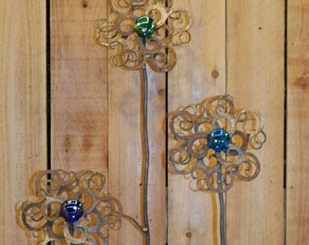 Set of 3 Swirly Flowers  - Rusted Steel with glass
