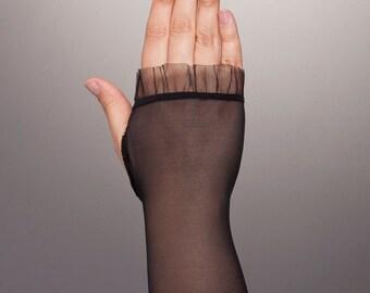 Lovely BLACK Lace Gloves, Short Lace Gloves, Lace Black Gloves, Lace Short Gloves, Sheer Gloves,Sheer Lace Gloves in Black,Fingerless Gloves