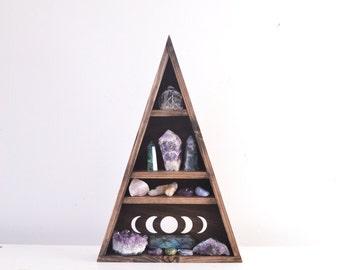 Triangle Shelves, Triangle shelf, Geometric shelf, crystal shelf - Moon Phases