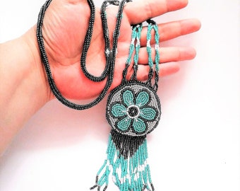 Native Rosette Fringed Bead Embroidery Pendant