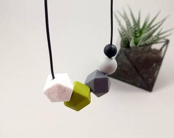 Silicone Teething Necklace - Granite, Khaki, Grey & Black | New Mum Gift | Baby Shower Gift | Nursing necklace | Geometric necklace