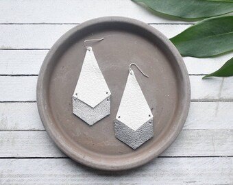 White and Silver Arrow Leather Earrings