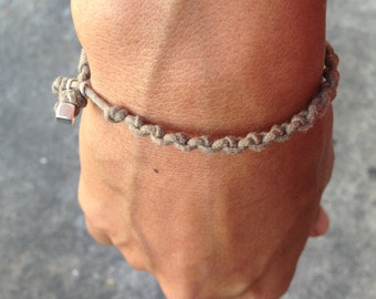 Bracelet Colo 01 Sterling Silver .925 Cotton Cord Handmade - Natural (B101SS-CNT)