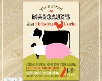 Farm Birthday Invitation - Vintage Farm Party - Farm Party Printable