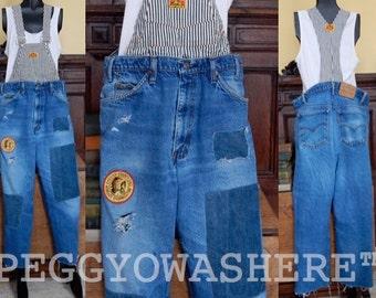 Vintage 1970's Levi's Perfect Fade overalls OOAK boyfriend jeans denim distressed suspenders conductor stripe PEGGYOWASHERE m/l xl