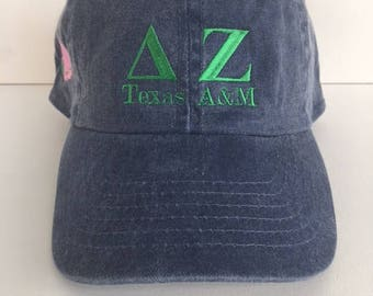 Delta Zeta Texas A&M stone washed embroidered cap in navy, tan or khaki