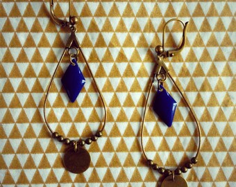 """Earrings """"Tears of Navy"""" Diamond collection"""