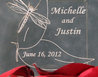 Dragonfly Wedding Cake Topper - Personalized - Light OPTION