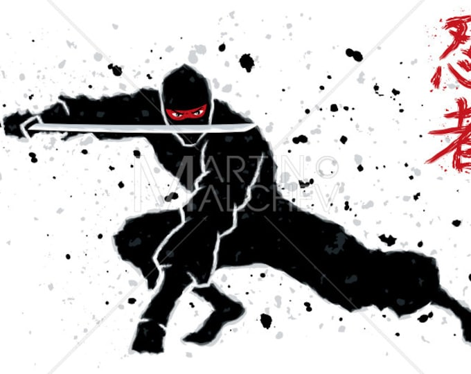Ninja - Vector Cartoon Illustration. assassin, warrior, fighter, Asian, character, figure, action, shadow, silhouette, Japan, Japanese,