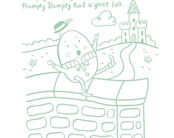 Humpty Dumpty - 5x7, 8x10, 11x14 Nursery Rhyme Art Print