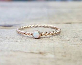 Opal Twist Ring 14k Gold Filled Stacking Ring